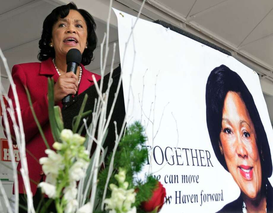 """Edgewood Park, New Haven: State Senator Toni Harp announces she is running for Mayor of New Haven. Mara Lavitt/New Haven Register <a href=""""mailto:mlavitt@newhavenregister.com"""">mlavitt@newhavenregister.com</a>5/18/13"""