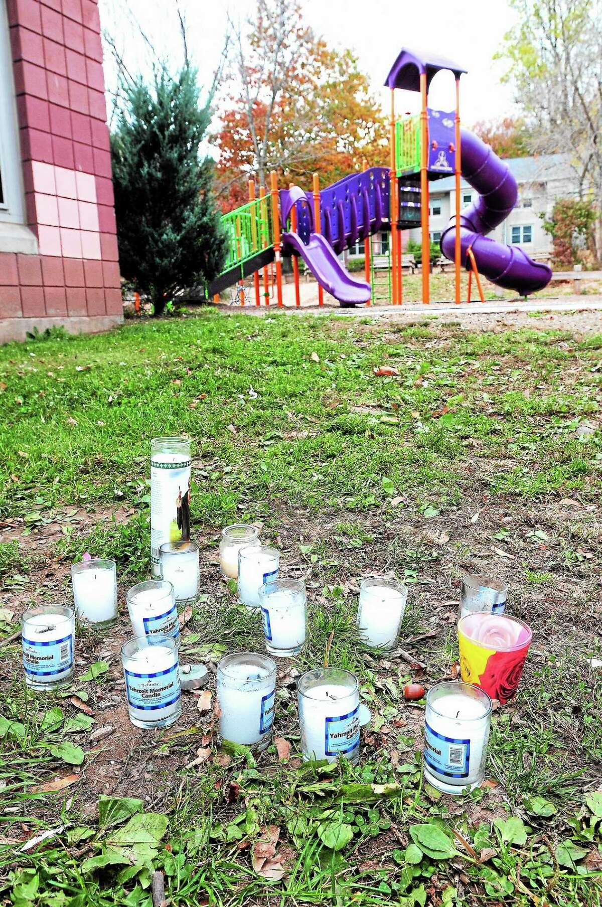 A memorial for homicide victim Deran Maebury is seen at 45 Wayfarer St. in New Haven this week.