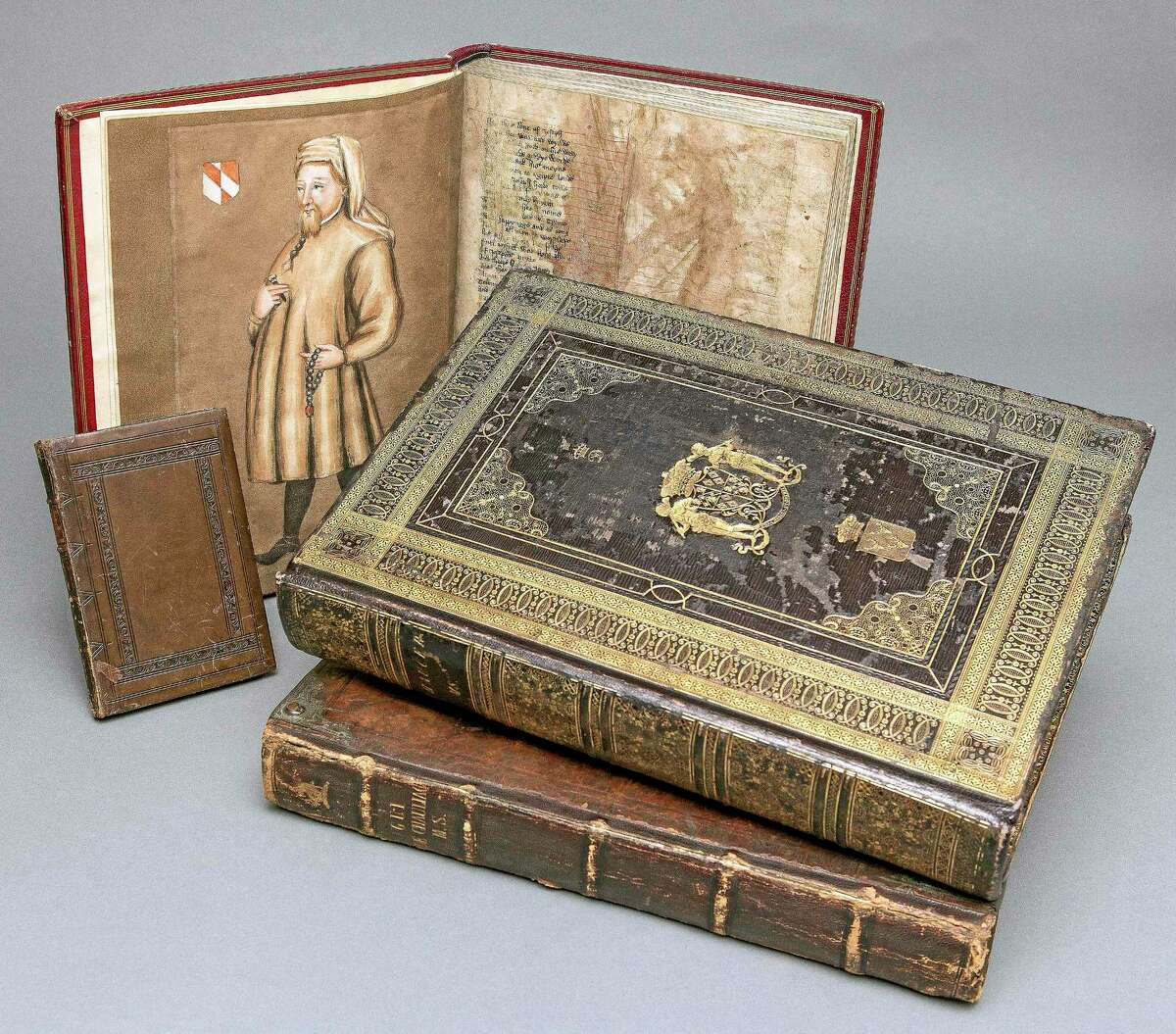 """Associated Press This Oct. 16, 2013 photo released by Yale University shows three copies of Chaucer's """"The Canterbury Tales,"""" part of a privately owned collection of Middle English texts now on long-term loan at the Beinecke Rare Book & Manuscript Library at the school."""