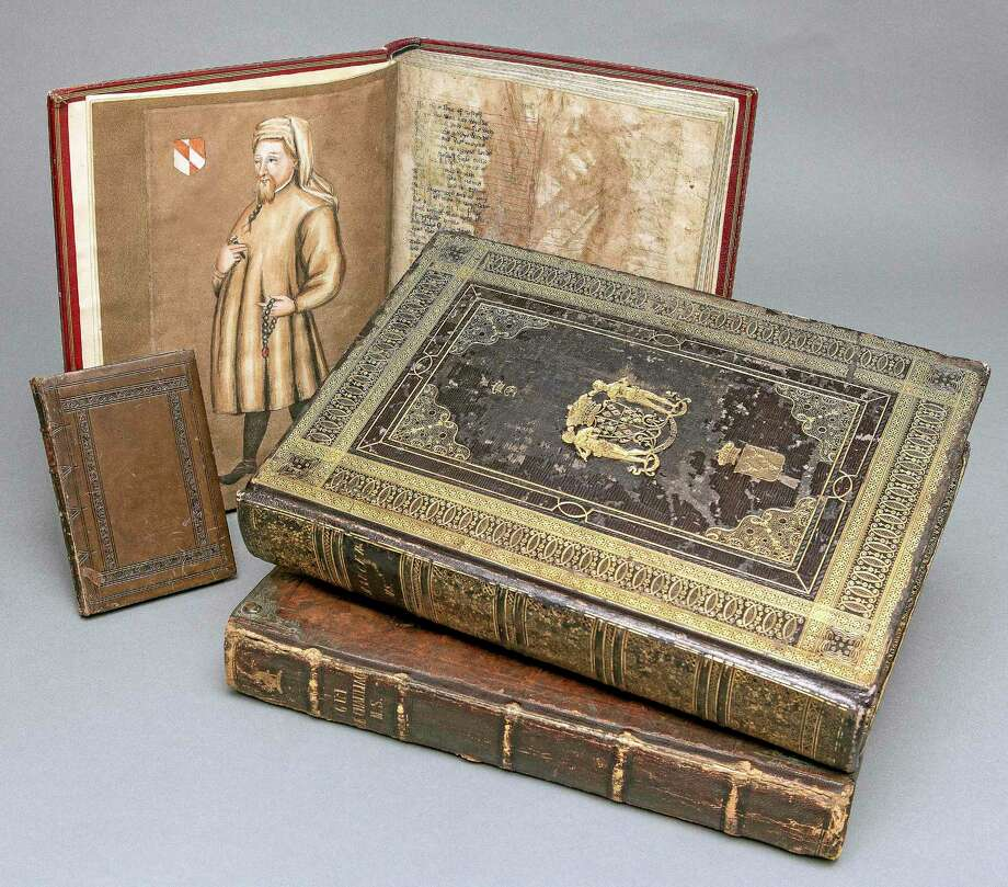 """Associated Press  This Oct. 16, 2013 photo released by Yale University shows three copies of Chaucer's """"The Canterbury Tales,"""" part of a privately owned collection of Middle English texts now on long-term loan at the Beinecke Rare Book & Manuscript Library at the school. Photo: AP / Yale University"""
