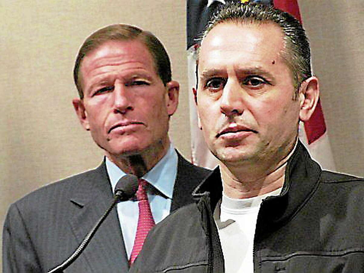 Sen. Richard Blumenthal, left, and Valent Kolami. Hugh McQuaid/CT NewsJunkie