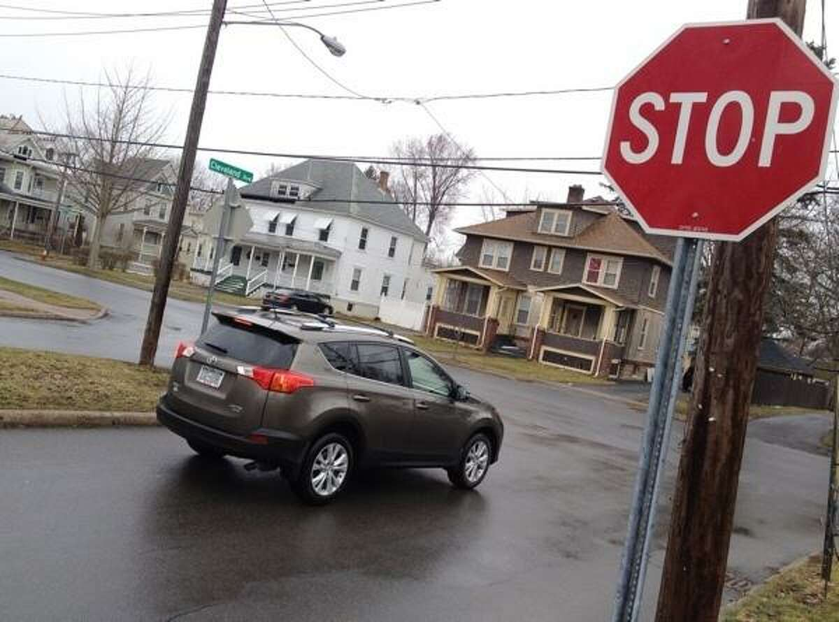 John Haeger @OneidaPhoto on Twitter/Oneida Daily Dispatch A vehicle stops at the intersection of Cleveland and Seneca Street before turning onto Seneca Street on Friday, March 15, 2013 in the city of Oneida.