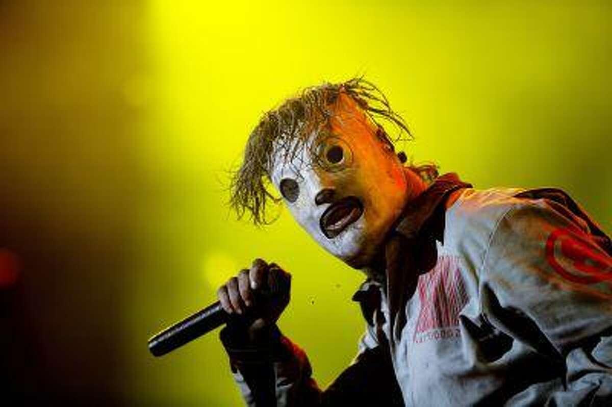 US Slipknot perform at the Roskilde Festival in Roskilde, Thursday, July 4, 2013. The festival ends Sunday. (AP Photo/POLFOTO, Thomas Borberg) DENMARK OUT