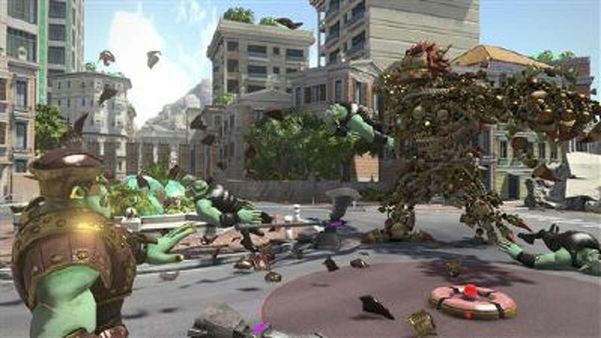 This image released by Sony Computer Entertainment shows a scene from Knack, which was created to be the perfect beast to show off the spectacularly vamped up visual powers of the PlayStation 4 game console. The hero of the game, also called ?Knack,? shown at right, is made up of 5,000 parts that cluster together and hang in the air to shape its ever-metamorphosing form.