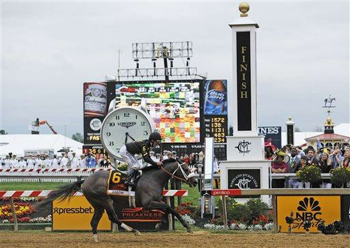AP Photo/Mike Stewart Oxbow, ridden by jockey Gary Stevens, wins the 138th Preakness Stakes horse race at Pimlico Race Course, Saturday, May 18, 2013, in Baltimore.