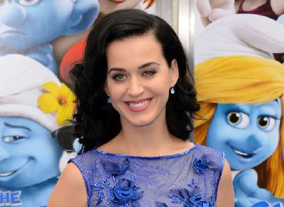 """This July 28, 2013 file photo shows singer Katy Perry at the world premiere of """"The Smurfs 2"""" in Los Angeles."""