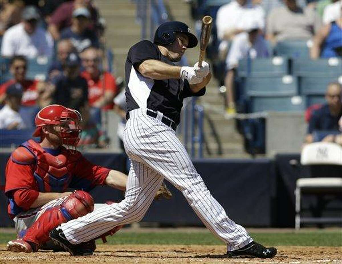 New York Yankees Brennan Boesch bats in a spring training baseball game at Steinbrenner Field in Tampa, Fla., Saturday, March 16, 2013. (AP Photo/Kathy Willens)