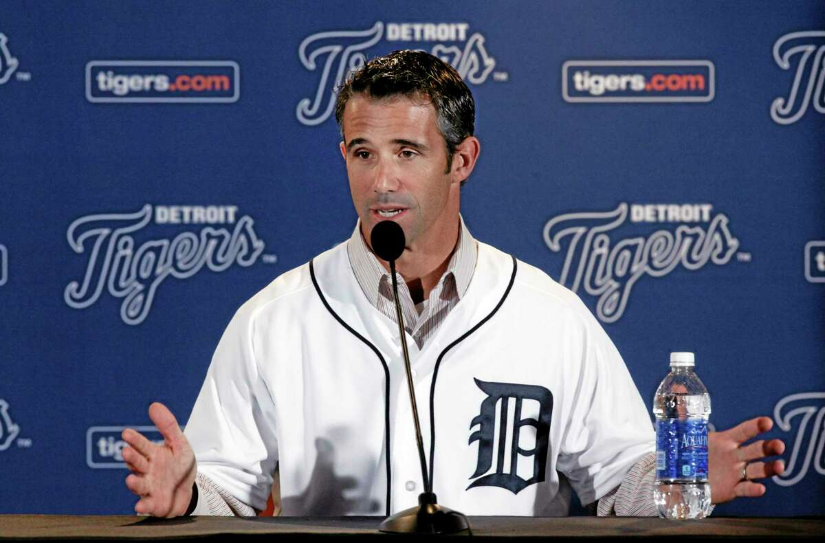 Brad Ausmus speaks to reporters after being introduced as the new manager of the Detroit Tigers on Sunday.