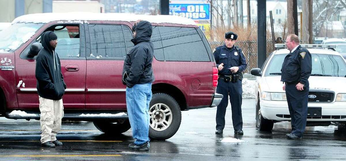 New Haven Police investigate the abduction of two-year-old Madison Wilson by her biological father, Robert Williamson, Jr., on Orange Ave. in New Haven on 1/16/2013. The girl was turned over to police unharmed.Photo by Arnold Gold/New Haven Register AG0480E