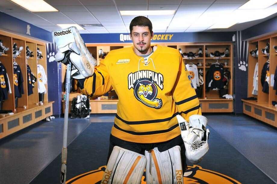 Hamden-- Quinnipiac's star goalie Eric Hartzell. Photo-Peter Casolino 1/16/13