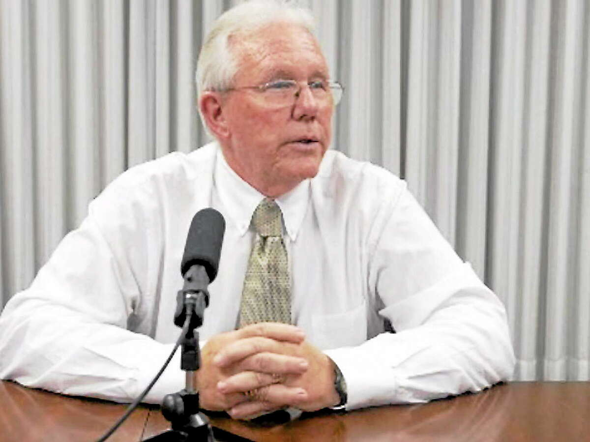 New Haven RegisterJack Stacey addresses editorial board meeting October 22.