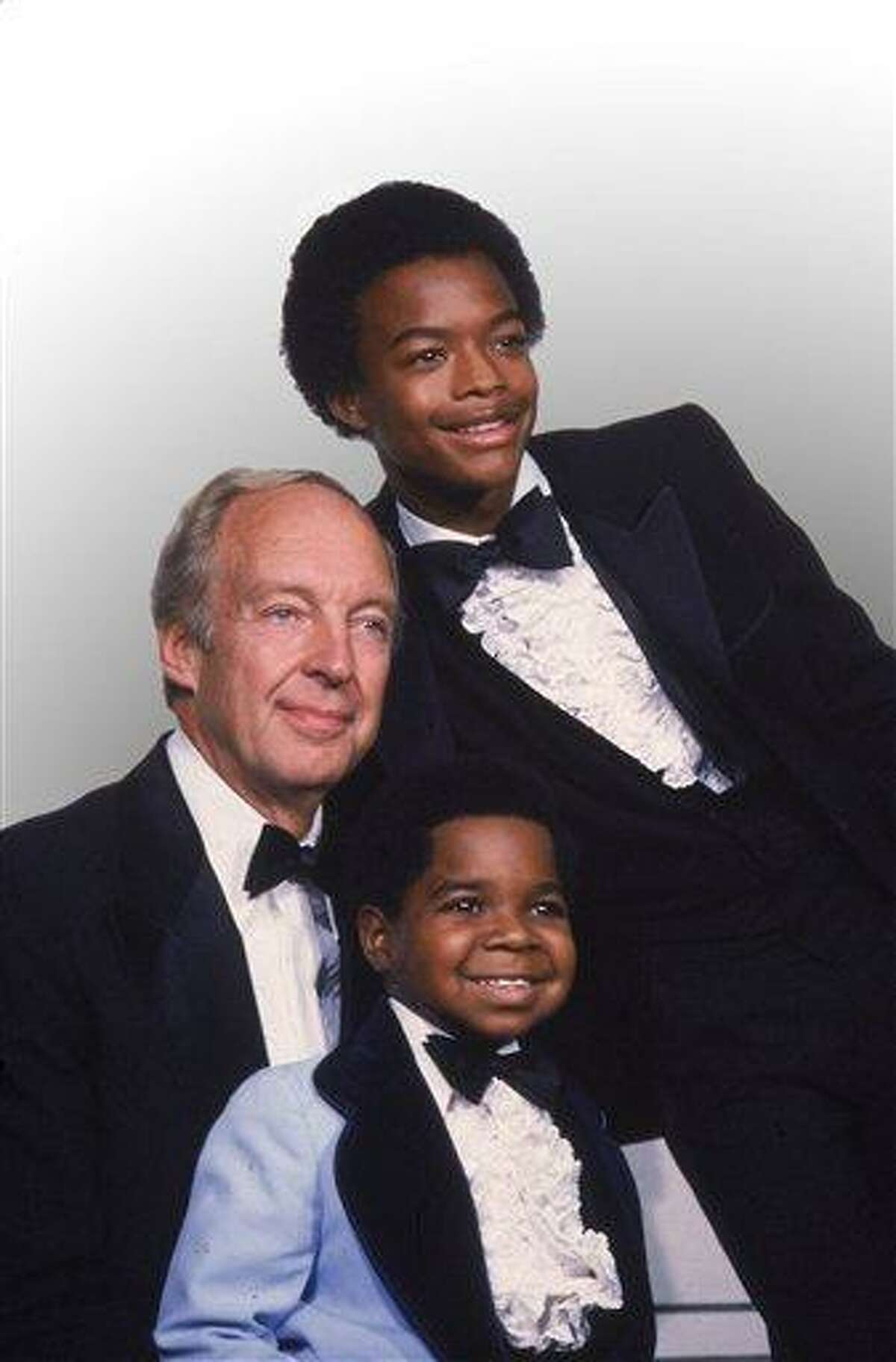 """FILE - This Sept. 13, 1981 file photo shows stars of the television show """"Different Strokes,"""" clockwise from foreground, Gary Coleman, Conrad Bain and Todd Bridges at the Emmy Awards in Los Angeles. Bain, who starred as the kindly white adoptive father of two young African-American brothers in the TV sitcom """"Diff'rent Strokes,"""" died of natural causes, Monday, Jan. 14, 2013, at his home in Livermore, Calif. He was 89. (AP Photo, file)"""