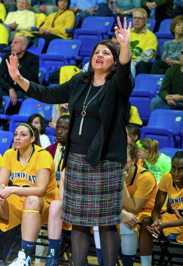 Quinnipiac women's basketball coach Tricia Fabbri. Courtesy photo of Quinnipiac / Copyright John Hassett 2013. All rights reserved