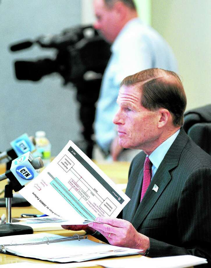 (Arnold Gold — New Haven Register)  U.S. Senator Richard Blumenthal chairs a Senate committee hearing concerning the recent power outage to Metro-North trains at Bridgeport City Hall on 10/28/2013. Photo: Journal Register Co.
