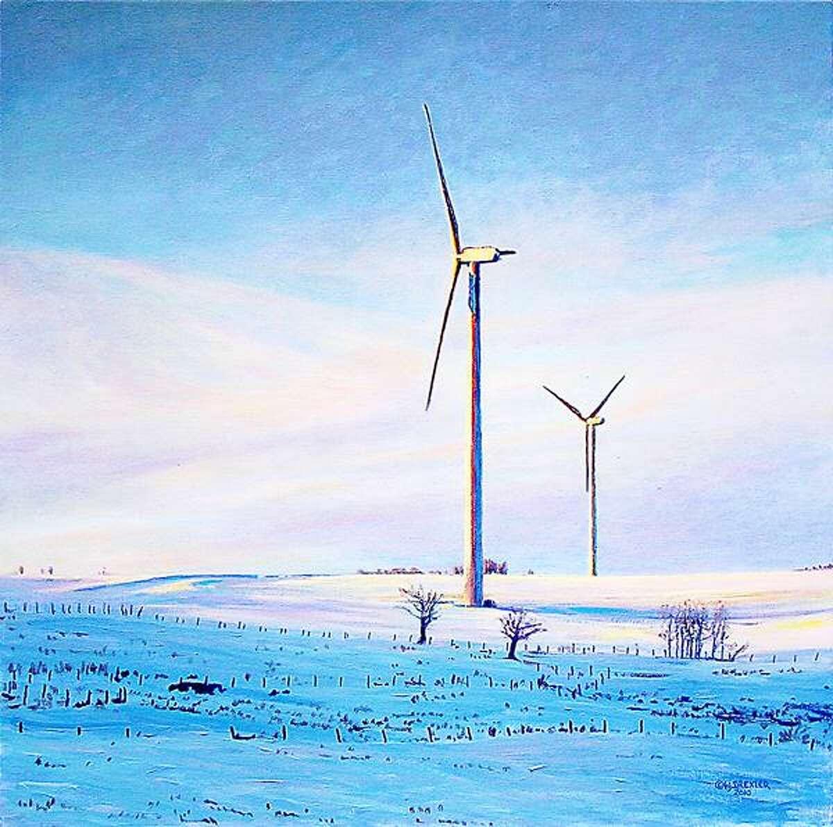 """Photo Courtesy EARLVILLE OPERA HOUSE Henry J. Drexler's """"Windmills Along Trew Road,"""" Stockbridge, NY; acrylic o.c., 30"""" x 30"""", 2010"""