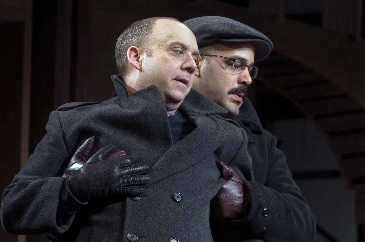 """Paul Giammati rehearses with Austin Durant, who plays Horatio, during a tech run on the University stage of Yale Rep's James Bundy directed production of """"Hamlet"""" March 13, 2013. vm Williams"""