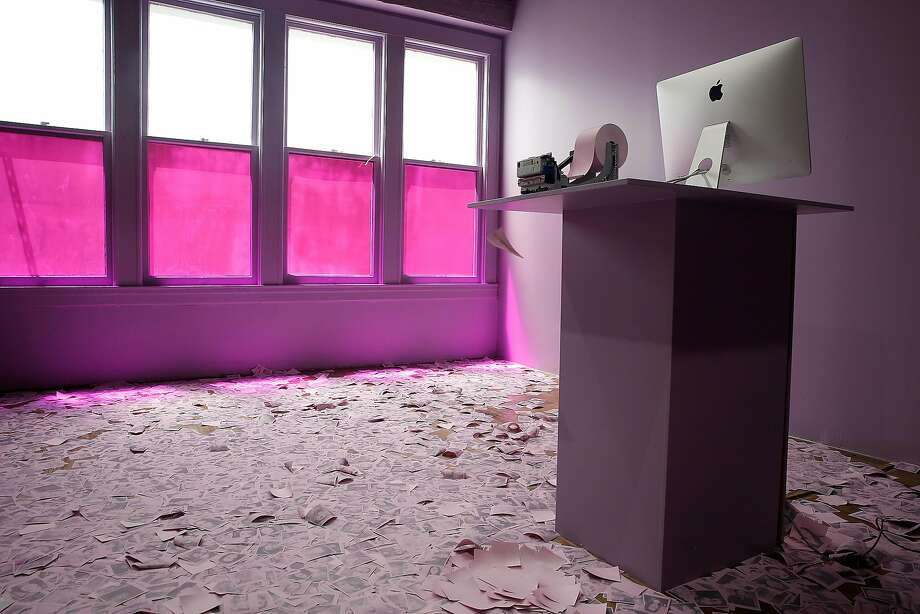 The lavender selfie room by English artist Tom Stayte is part of the Color Factory two-story interactive exhibition. Photo: Liz Hafalia, The Chronicle