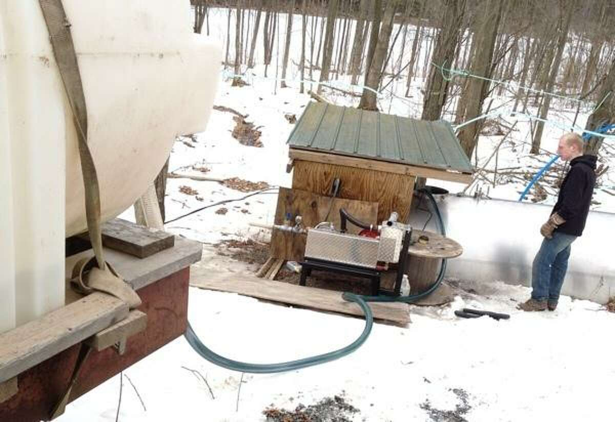 John Haeger @OneidaPhoto on Twitter/Oneida Daily Dispatch VVS FFA member Zack Wheelock collects.sap from the collection tank in the wood lot to be taken back to the sap house and boiled down into maple sypra on Thursday, March 7, 2013.