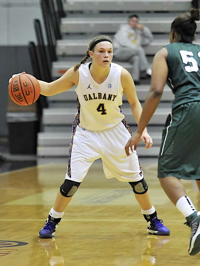 Torrington alum and current University at Albany guard Sarah Royals made history by tying the single-game NCAA assists record Wednesday afternoon. University at Albany / BILL ZISKIN
