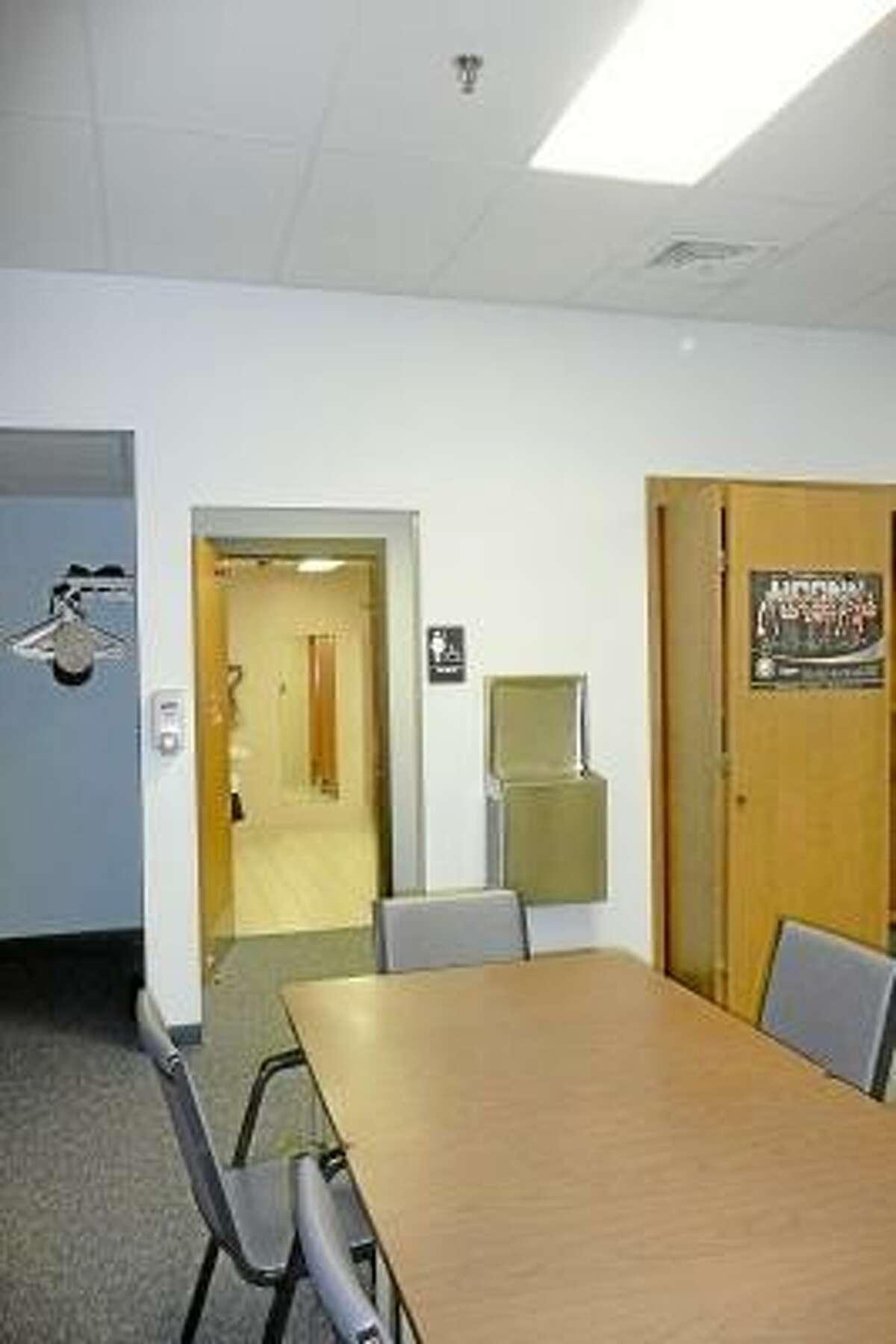 Bathrooms at the Sullivan Senior Center in Torrington are in need of renovations. Kate Hartman/Register Citizen