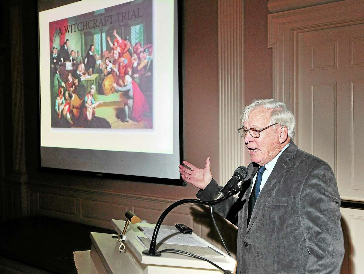 Richard Tomlinson gives a presentation on the history of Connecticut witchcraft trials recently at the New Haven Museum.
