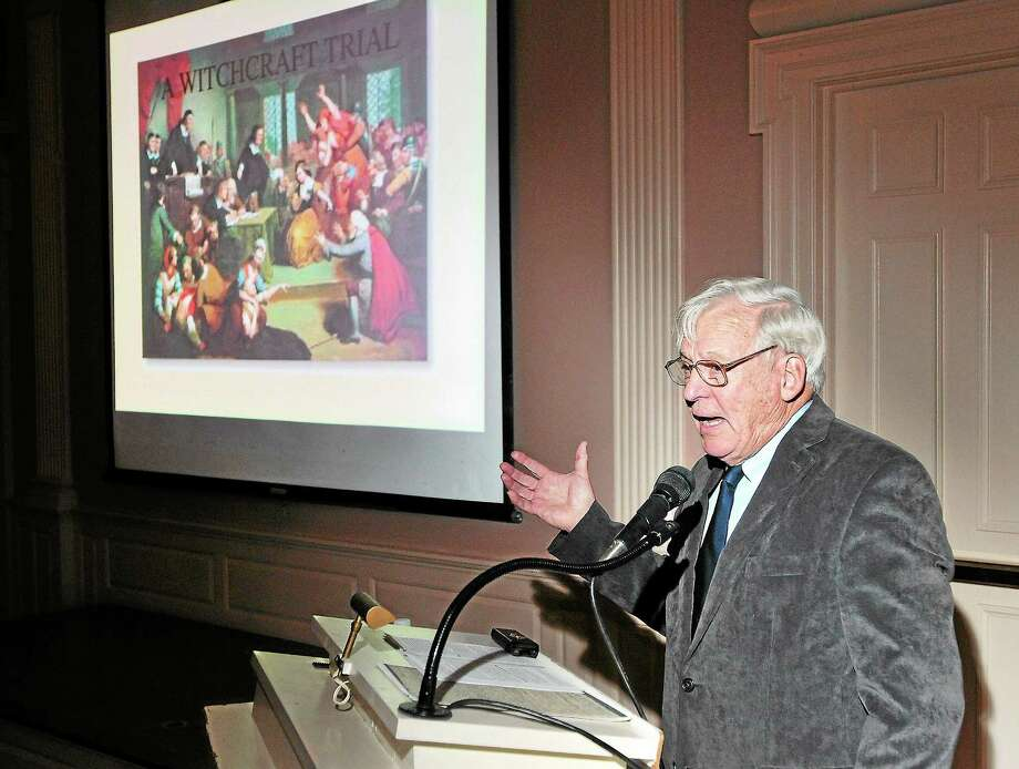 Richard Tomlinson gives a presentation on the history of Connecticut witchcraft trials recently at the New Haven Museum. Photo: Peter Casolino — New Haven Register