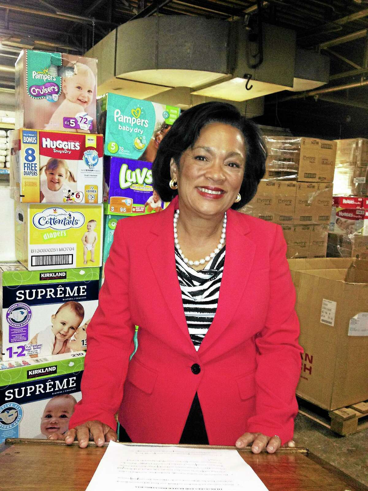 Toni Harp at New Haven Diaper Bank, where her campaign donated 4,500 diapers