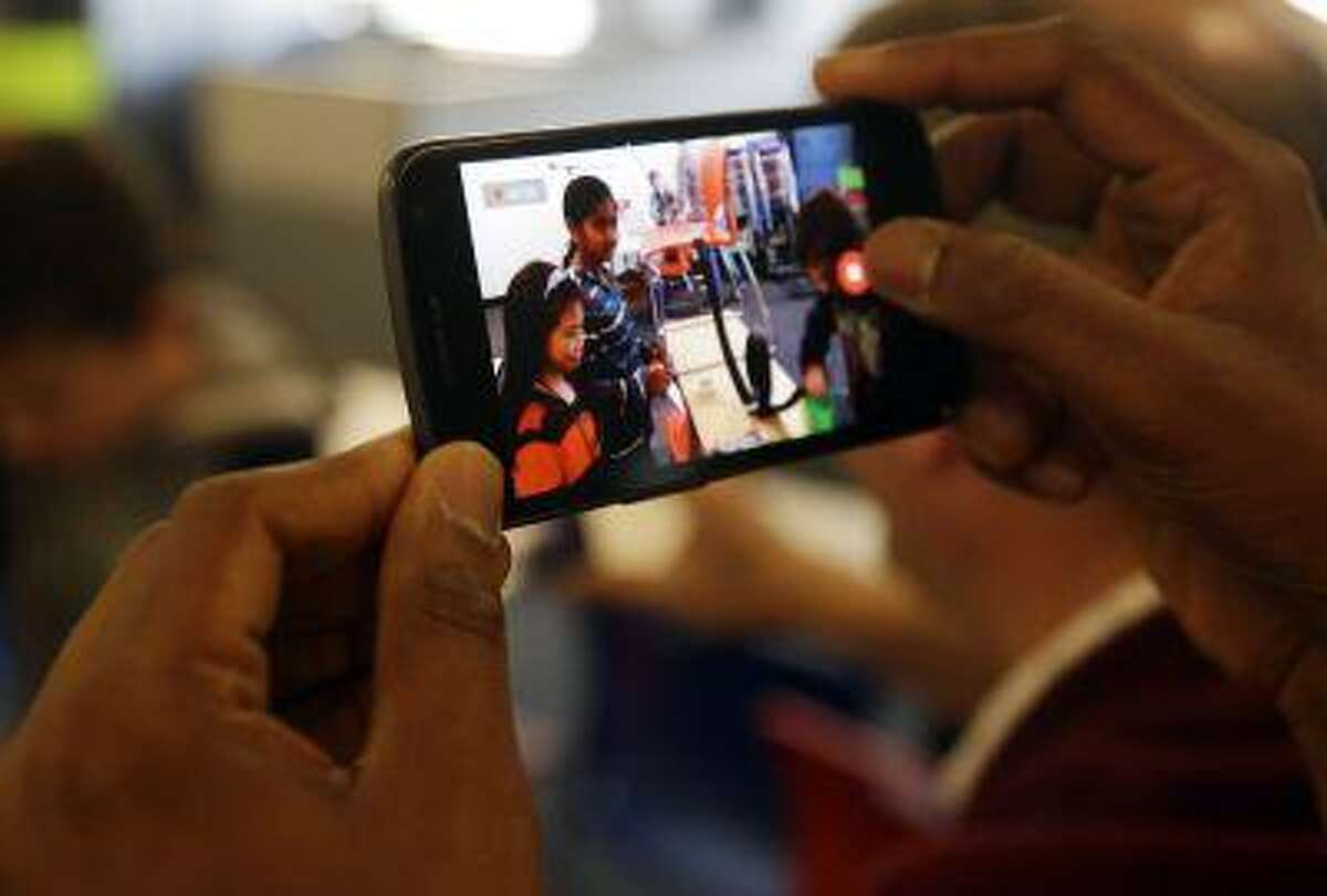 A Google smartphone is pictured at the company's headquarters in Mountain View, Calif.