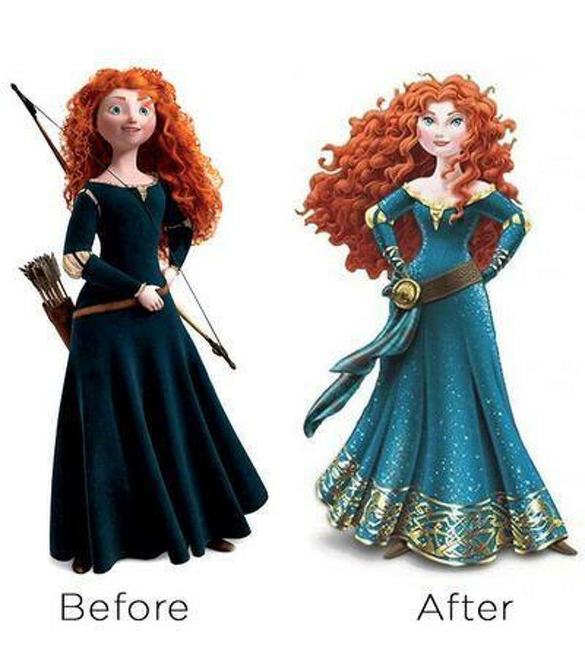 In this image taken from the Yahoo Shine parenting blog, the different versions of the Merida character are shown. Marin resident Brenda Chapman wrote and directed the Brave film that featured the character, whose original image was inspired by Brenda's daughter Emma Chapman. The character has been made to look more adult ahead of adding Merida as the 11th Disney princess. Read the Yahoo post at http://yhoo.it/15wywHZ.