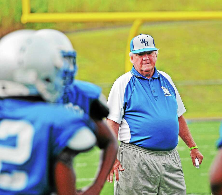 (Peter Casolino — New Haven Register)   West Haven high school football coach Ed McCarthy is on the verge of becoming the career coaching leader in Connecticut history. Photo: Journal Register Co.