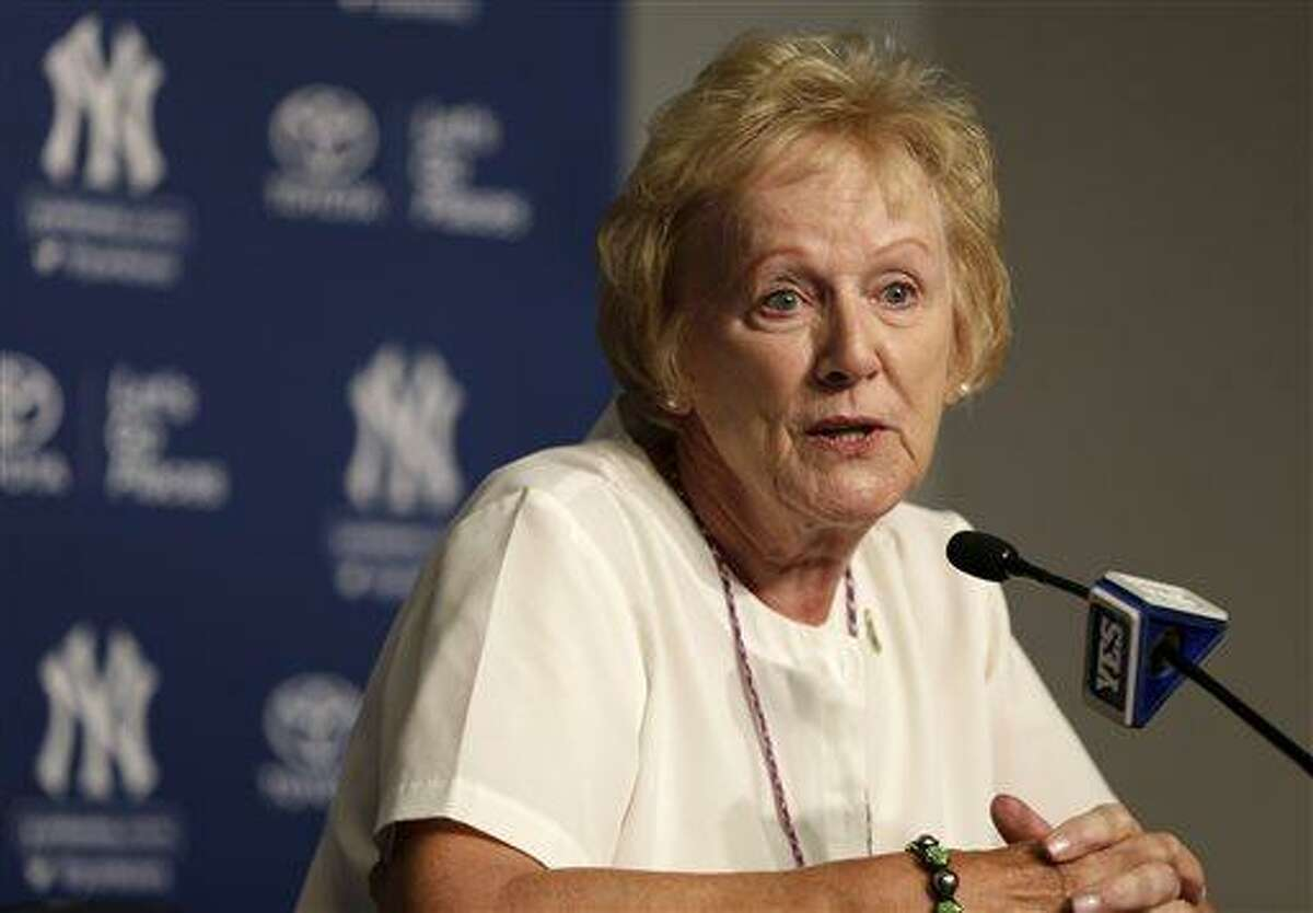 """Newtown, Conn., First Selectman Pat Llodra speaks to members of the media on """"Newtown Day"""" at Yankee Stadium before Sunday's game between the Yankees and Orioles. Approximately 4,000 Newtown residents were guests of the Yankees on Sunday. (AP Photo/Kathy Willens)"""