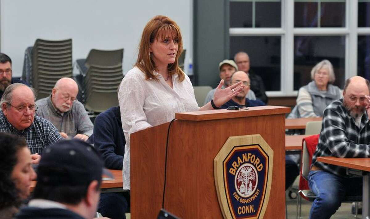 Branford--Cynthia Frawley of Branford speaks during a Representative Town Meeting (RTM) concerning the new sporting goods store that sells guns that opened recently downtown. Frawley and every resident that spoke at the meeting, were all in favor of the gun shop. Photo-Peter Casolino