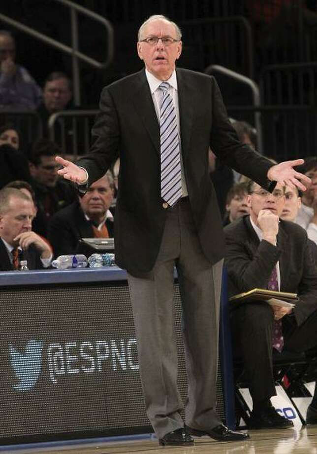 Syracuse head coach Jim Boeheim gestures during the first half of an game against Seton Hall at the Big East Conference tournament, in New York, March 13, 2013. Photo: ASSOCIATED PRESS / AP2013