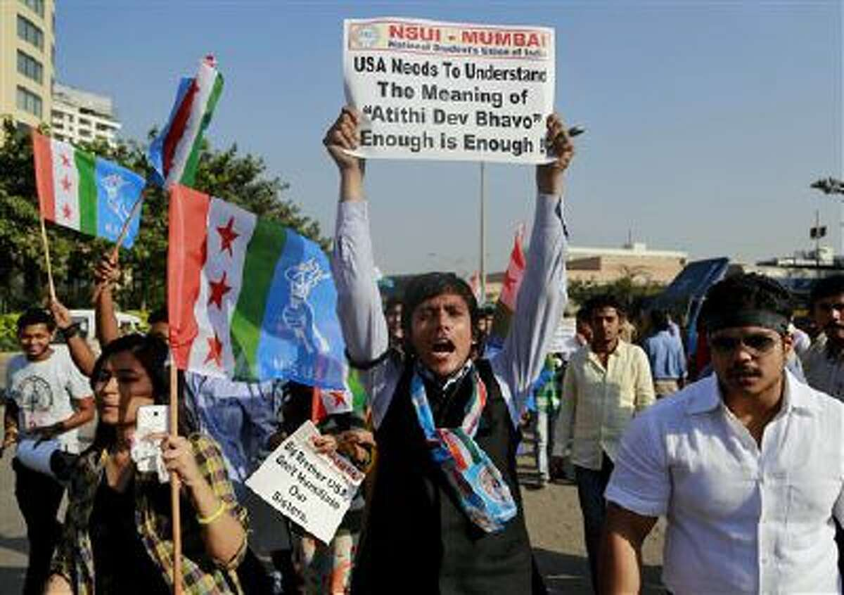 A member of the National Students Union of India, the student wing of India's ruling Congress party, shouts slogans during a protest outside the U.S. consulate in Mumbai, India, Dec. 20.