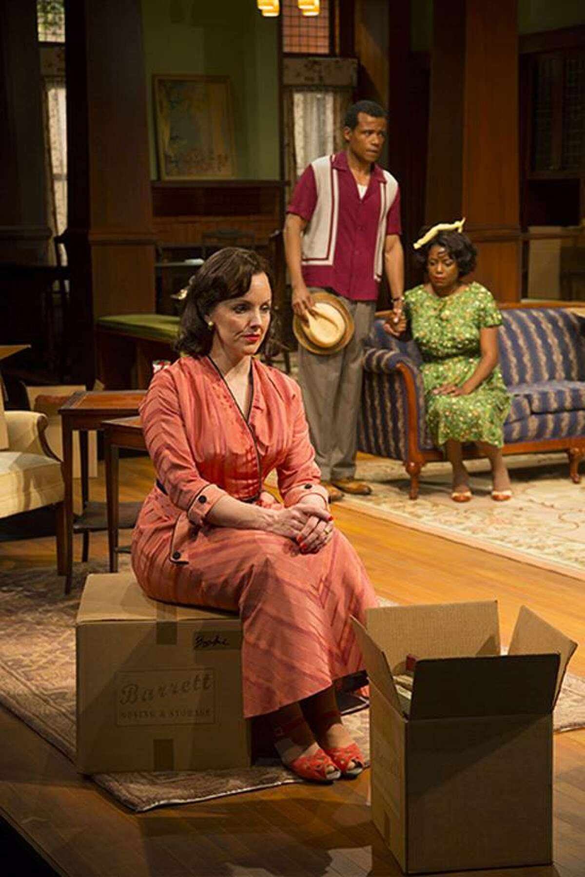 """T. Charles Erickson photo: Tony Award winner Alice Ripley, left, is part of the fine ensemble cast that includes LeRoy McClain and Melle Powers in Long Wharf's """"Clybourne Park."""""""