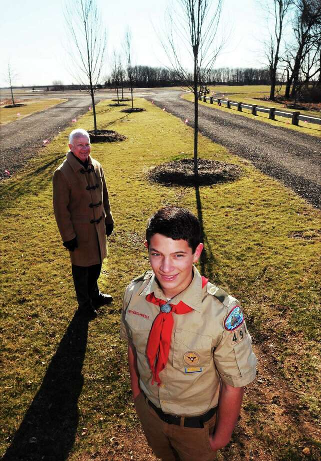 Nate Rogers' Eagle Scout project is to gather ideas for the renaming of Constitution Park in Madison. At left is Madison First Selectman Fillmore McPherson. Photo: Mara Lavitt — New Haven Register      / Mara Lavitt