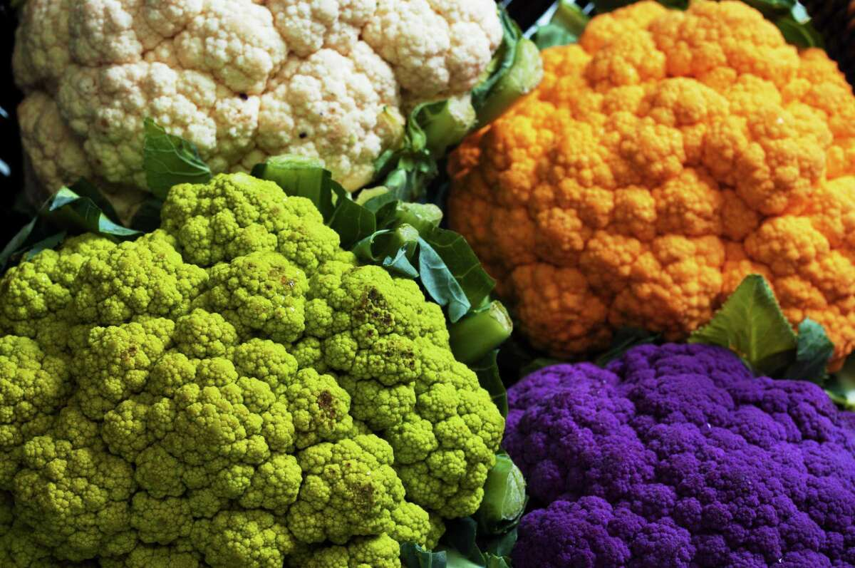 Plain old white cauliflower is so last year: Look for it in orange, purple and green in 2014.
