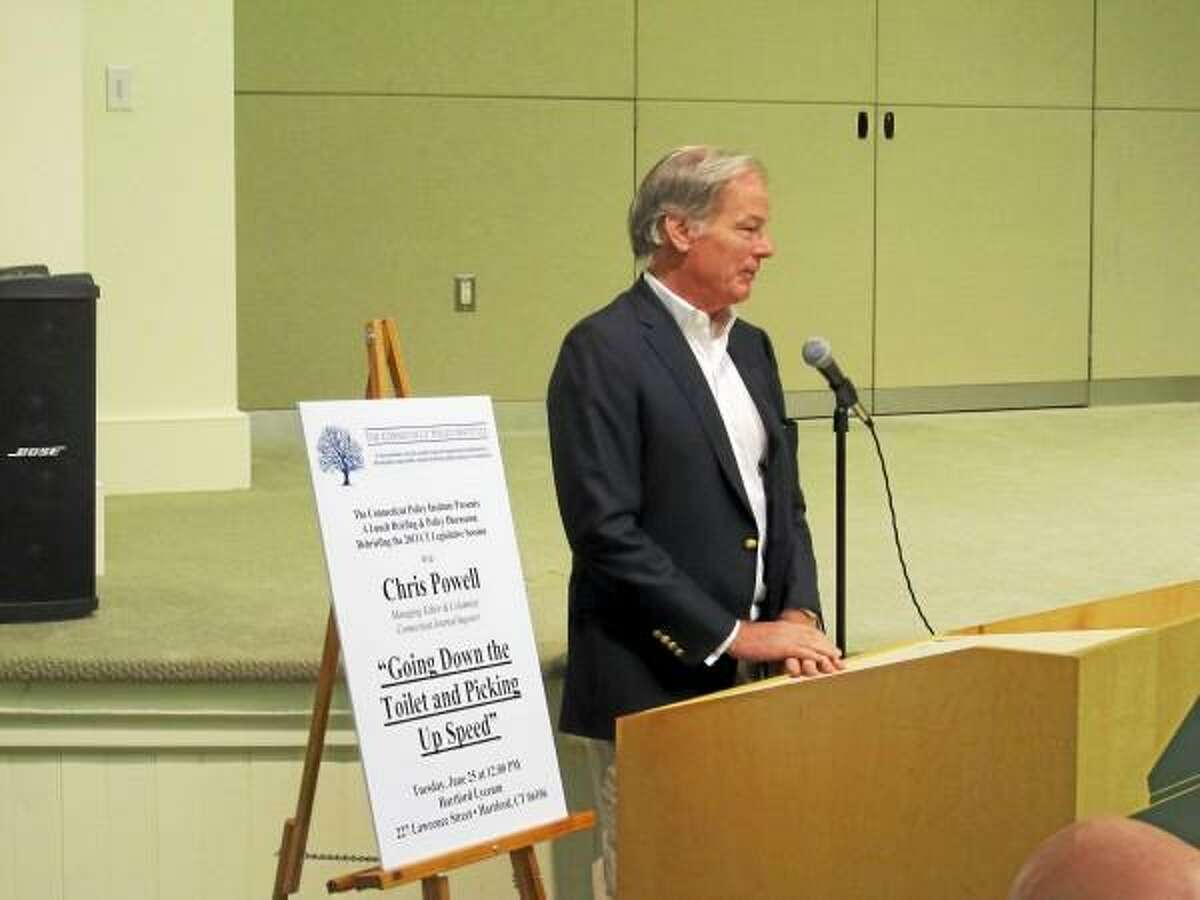 CTMirror.org photo - Tom Foley at a recent CPI luncheon in Hartford.
