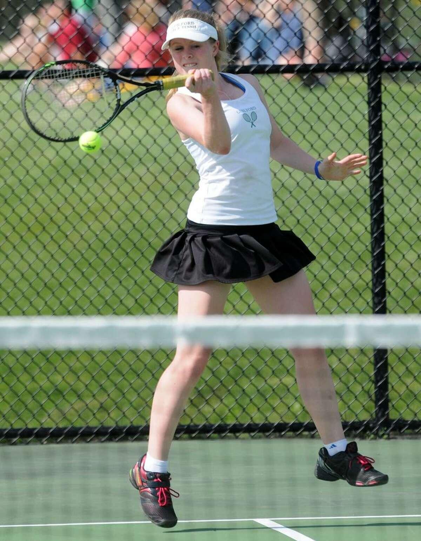Guilford at Amity girls tennis. Kristen Forscher of Guilford against Dina Weick of Amity. Mara Lavitt/New Haven Register mlavitt@newhavenregister.com5/16/13