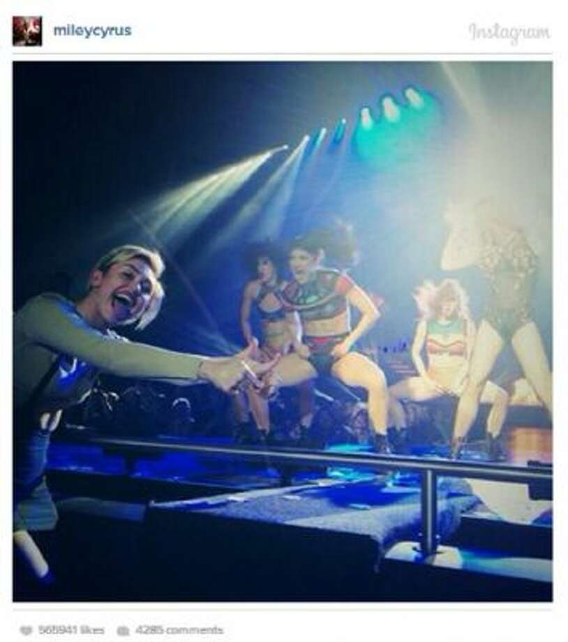 A screenshot of Miley Cyrus' Instagram account. Cyrus was spotted at the Britney Spears concert in Las Vegas.
