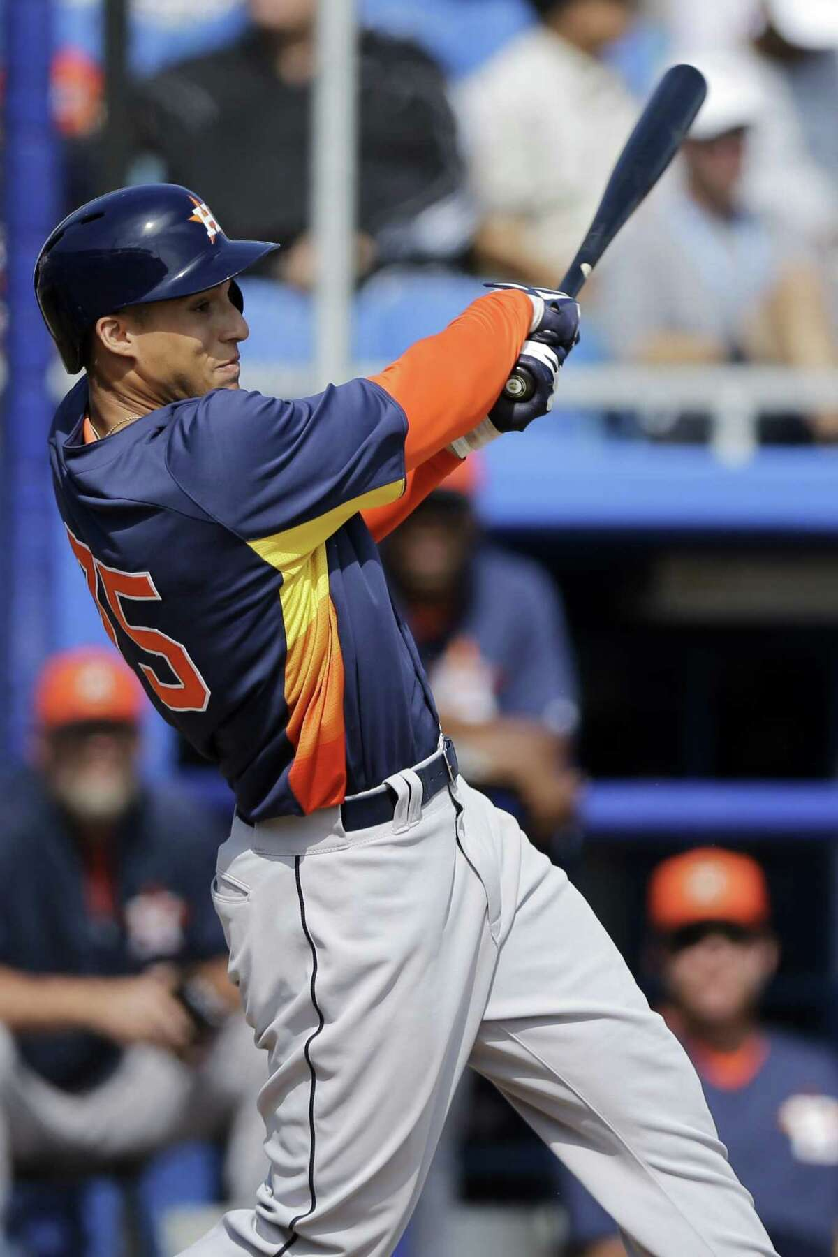 New Britain native and UConn product George Springer has shown the five-tool stuff this season. (AP File Photo/Matt Slocum)