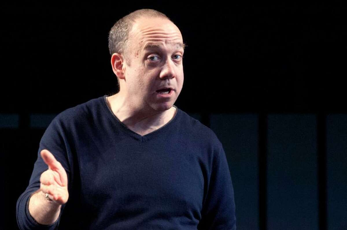 """VM Williams/Register photo: Paul Giamatti rehearses during a tech run on the University Theatre stage of Yale Rep's James Bundy-directed production of """"Hamlet"""" March 13."""