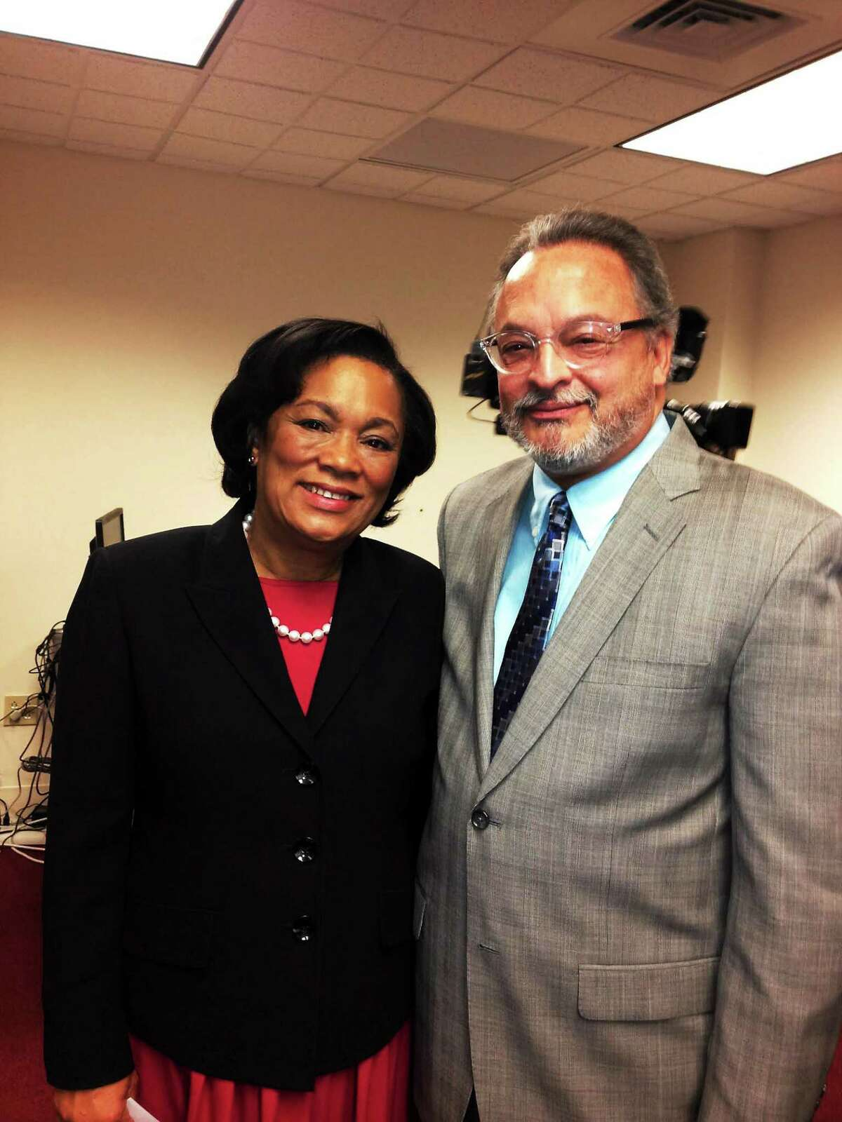 Mayor-elect Toni Harp and Tomas Reyes after he was introduced as her chief of staff