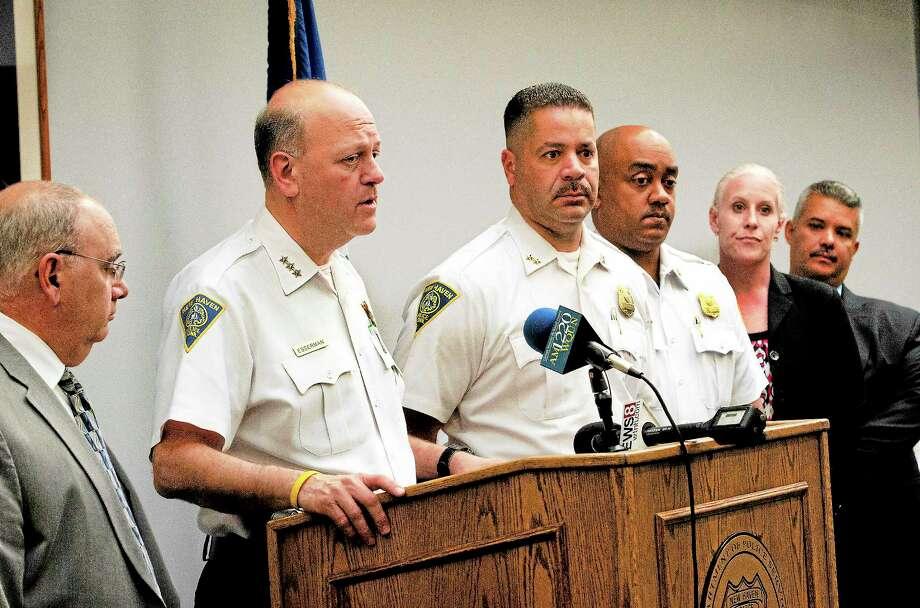 New Haven Police Chief Dean Esserman announces an arrest in the killing of Nathaniel Bradley. Photo: Melanie Stengel — New Haven Register
