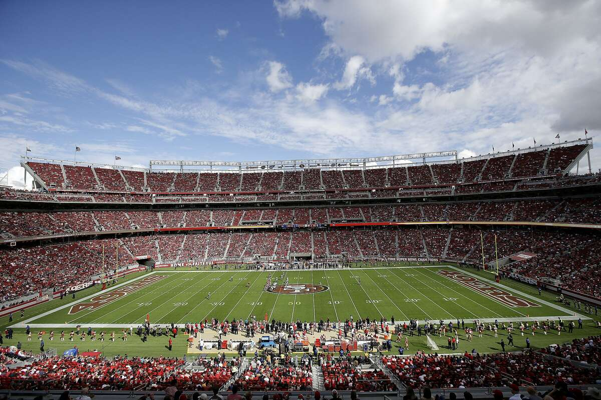 FILE - This Sunday, Oct. 18, 2015, file photo shows a general view of Levi's Stadium during the first half of an NFL football game between the San Francisco 49ers and the Baltimore Ravens, in Santa Clara, Calif.