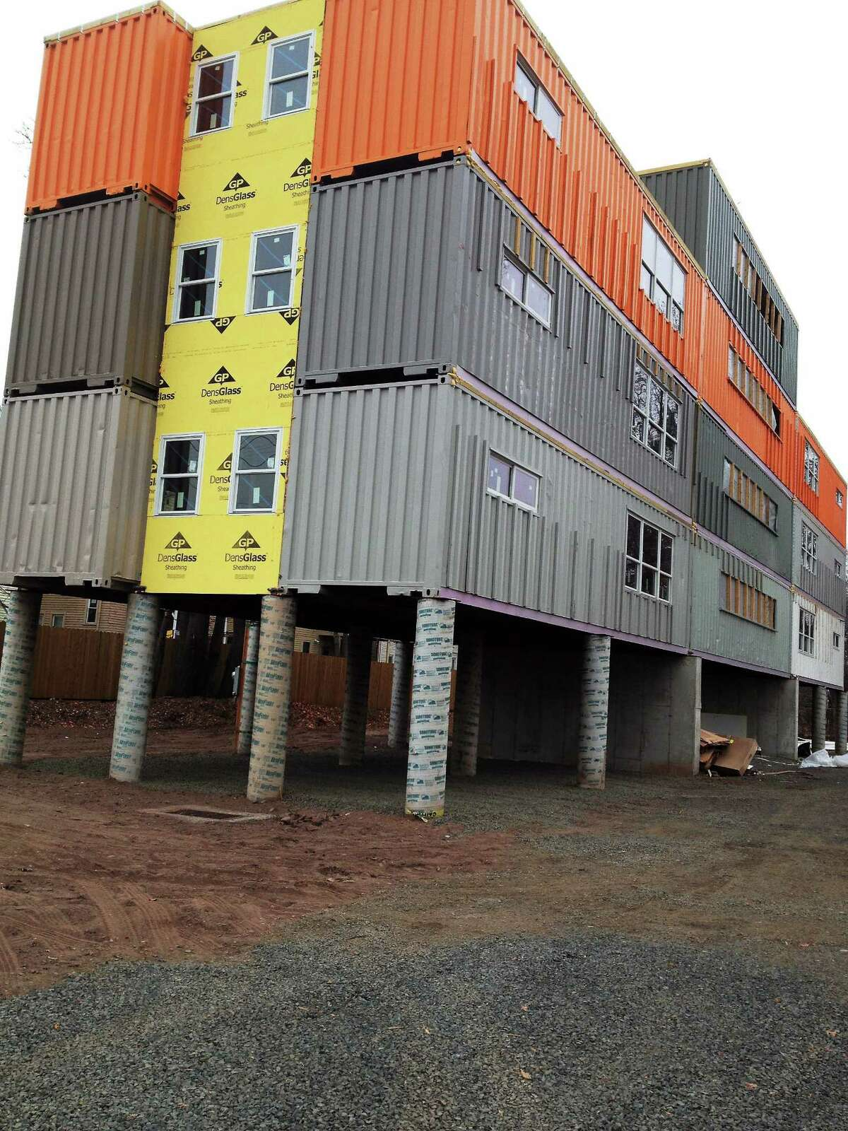 Container house under construction on Ella Grasso Boulevard .