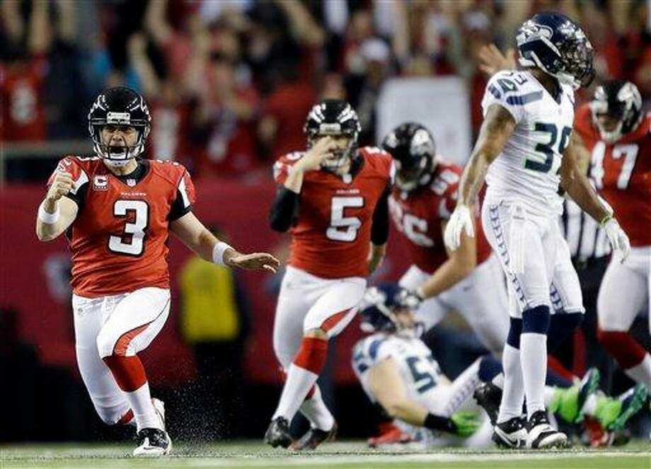 Atlanta Falcons kicker Matt Bryant (3) reacts to his game winning field goal against the Seattle Seahawks during the second half of an NFC divisional playoff NFL football game Sunday, Jan. 13, 2013, in Atlanta. The Falcons won 30-28. (AP Photo/David Goldman) Photo: AP / AP