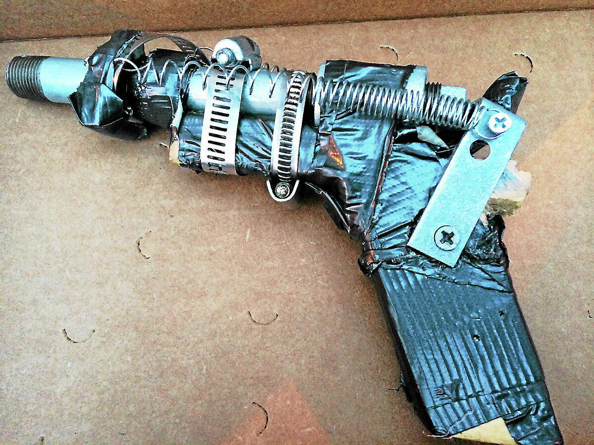 A zip gun confiscated by police.