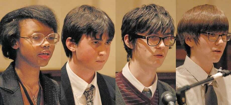 Four members of the Middletown High School Debate Society participated in the celebration of the 150th anniversary of the signing of the Emancipation Proclamation on Thursday at Russell Library in Middletown.
