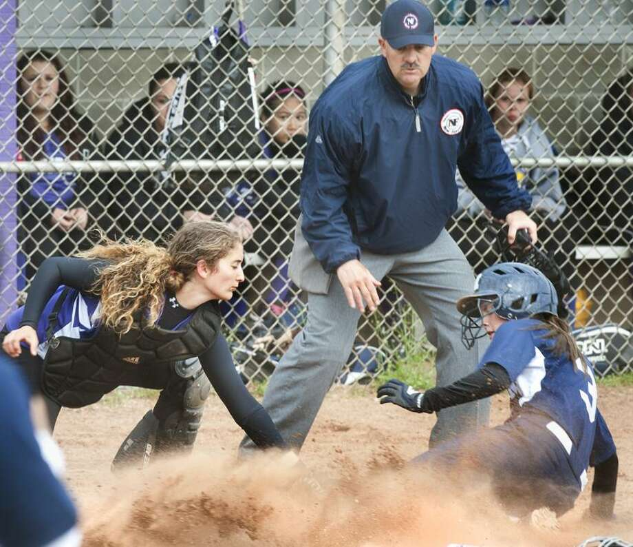 SPORTS-North Branford's Deanna Gallo can't stop Morgan's Danielle Joyce from scoring.    Melanie Stengel/Register
